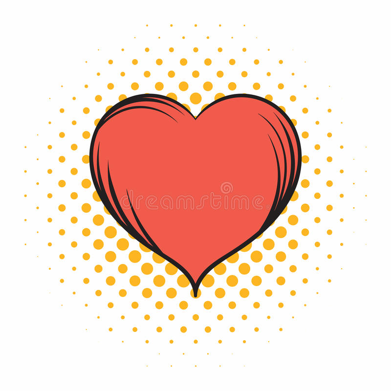 Icono rojo de los tebeos del corazón stock de ilustración