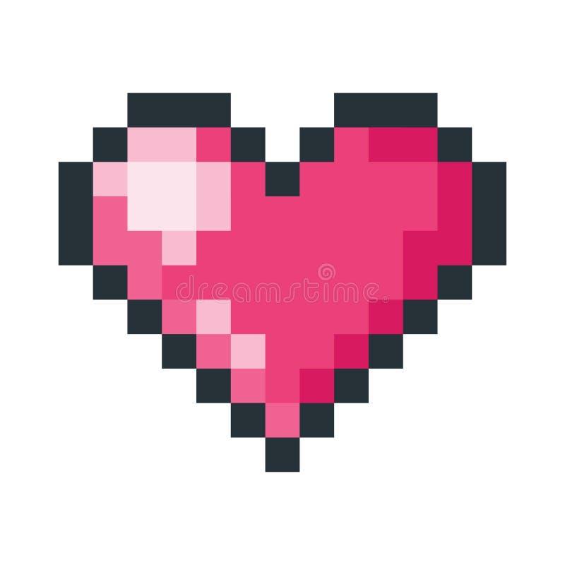 Icono rojo del arte del pixel del corazón ilustración del vector