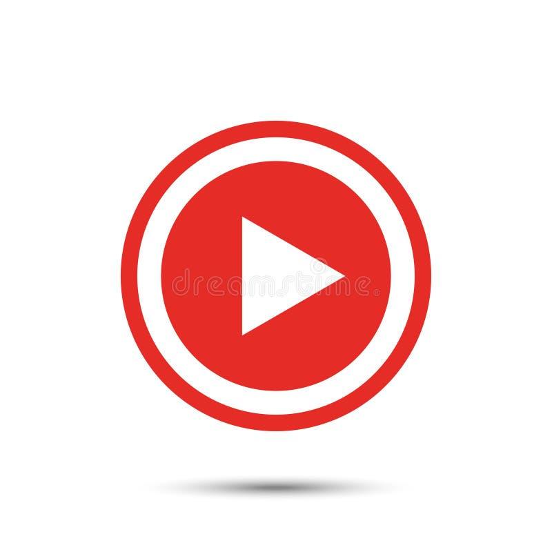 Icono rojo del botón de reproducción en estilo plano con la sombra libre illustration