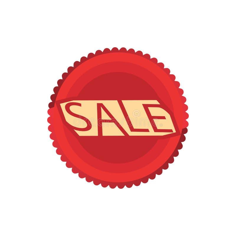 Icono rojo del círculo de la venta, estilo de la historieta libre illustration
