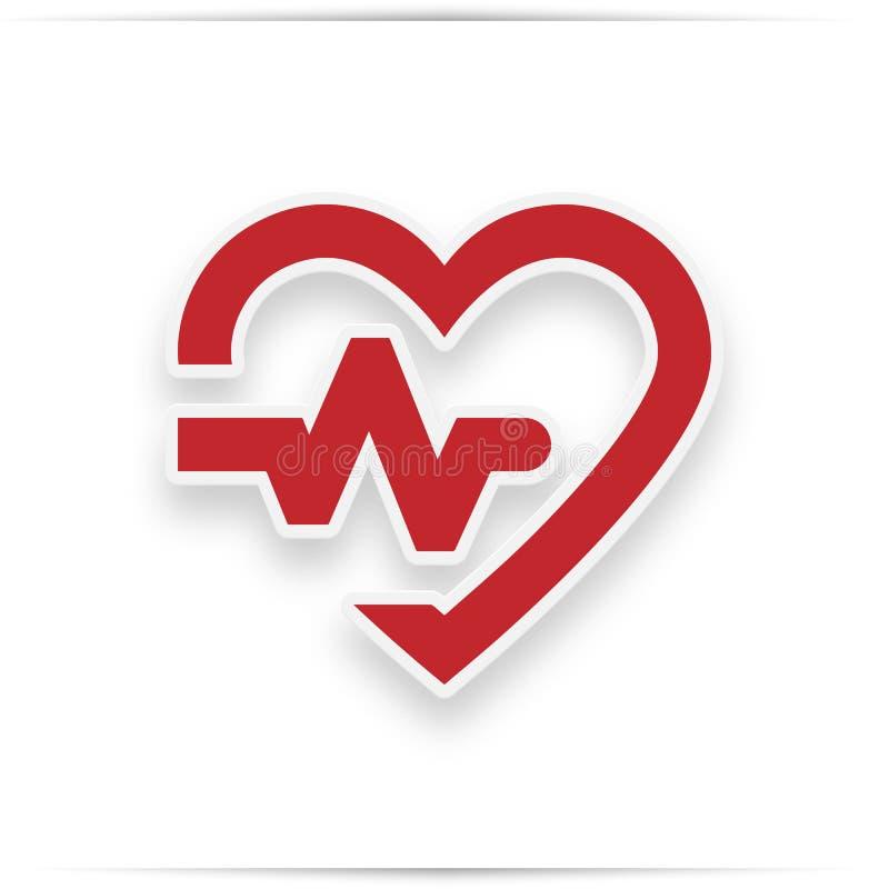 Icono rojo del corazón con latido del corazón de la muestra libre illustration