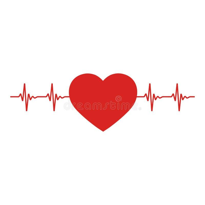 Icono rojo del corazón con latido del corazón de la muestra El corazón firma adentro diseño plano stock de ilustración