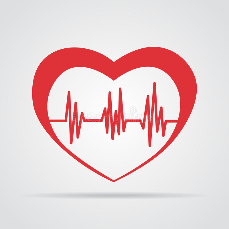 Icono rojo del corazón con latido del corazón de la muestra Ilustración del vector El corazón firma adentro diseño plano stock de ilustración