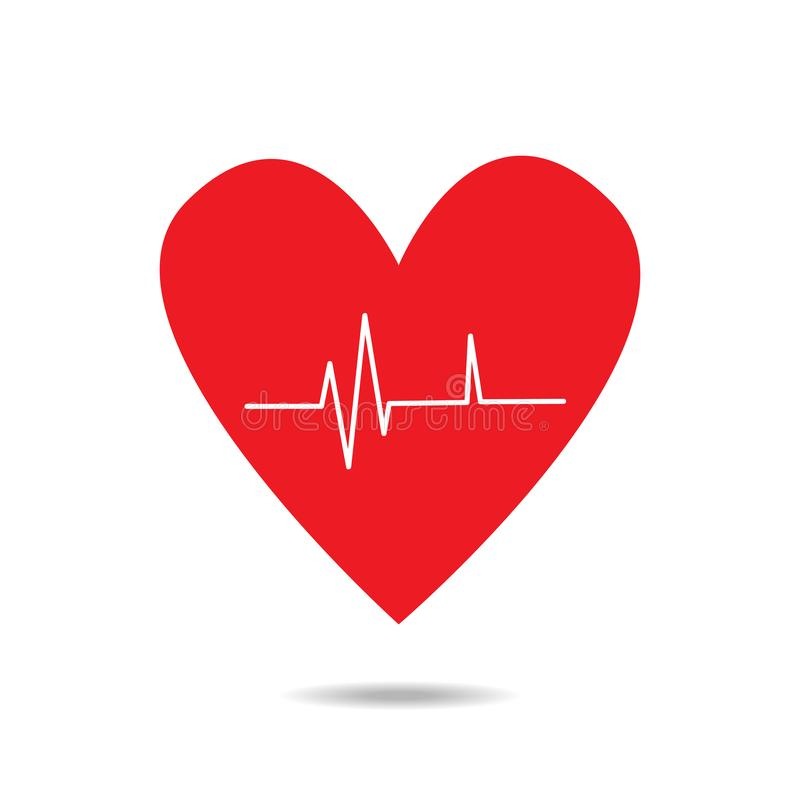 Icono rojo del coraz?n con latido del coraz?n de la muestra libre illustration