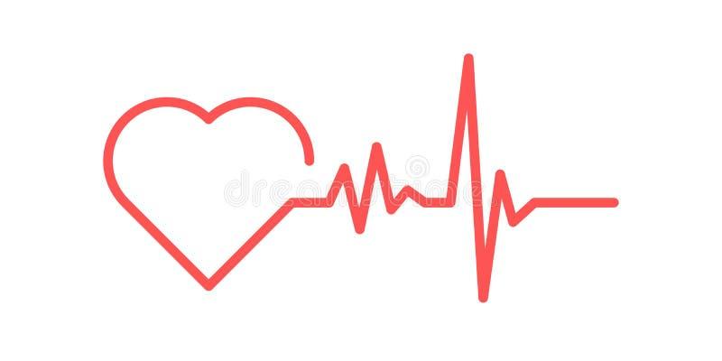 Icono rojo del coraz?n con latido del coraz?n de la muestra Ilustraci?n del vector El coraz?n firma adentro dise?o plano libre illustration