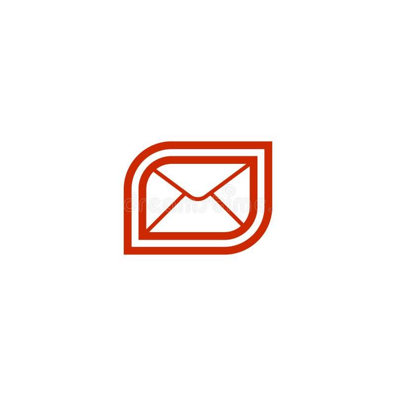 Icono rojo del correo del correo electrónico stock de ilustración
