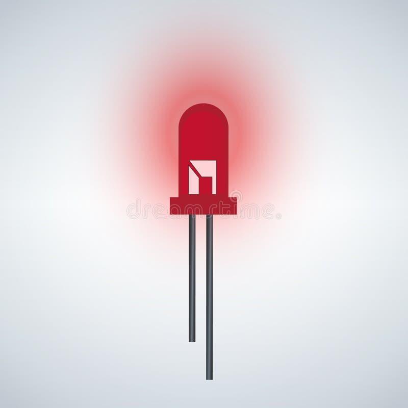 Icono rojo del diodo del LED stock de ilustración