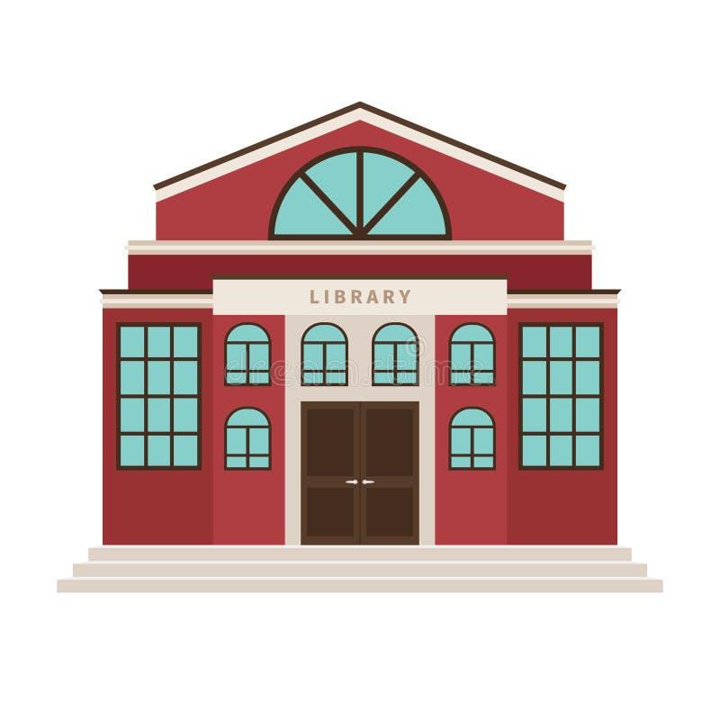 Icono rojo del edificio de la historieta de la biblioteca ilustración del vector