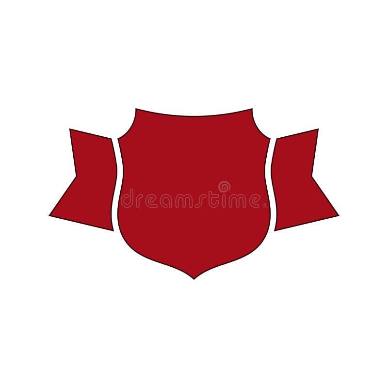 Icono rojo del escudo El escudo del esquema, cinta simple aisló el fondo blanco Muestra gr?fica plana Brazos del símbolo, insigni stock de ilustración
