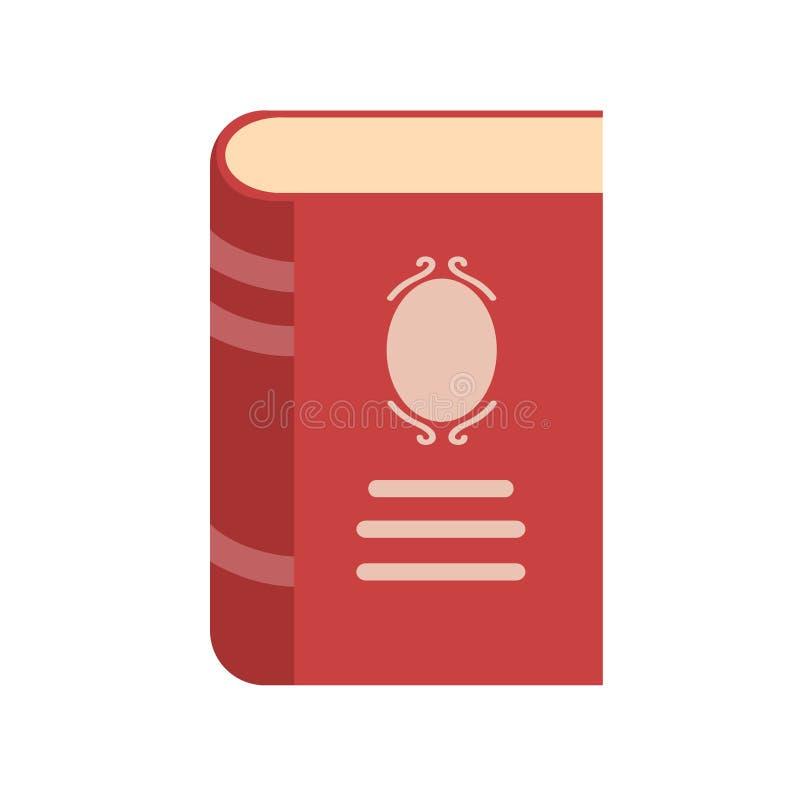 Icono rojo del libro del estilo plano en el ejemplo blanco, común del vector ilustración del vector