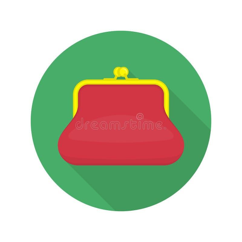 Icono rojo del monedero stock de ilustración
