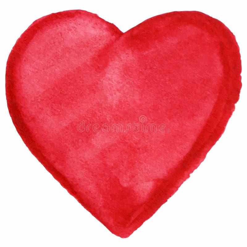 Icono rojo del símbolo del amor del corazón de la acuarela aislado libre illustration