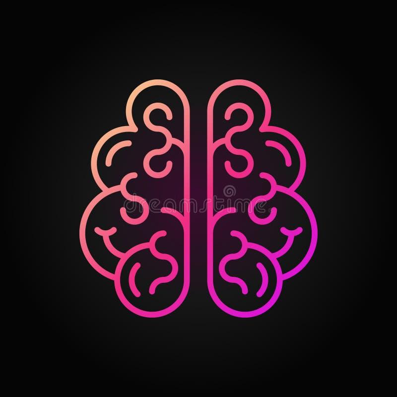 Icono rojo del vector del cerebro humano en estilo del esquema en fondo oscuro libre illustration