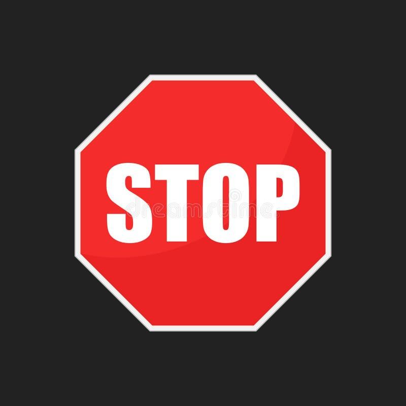 Icono rojo del vector de la muestra de la parada Ejemplo del vector del símbolo del peligro libre illustration