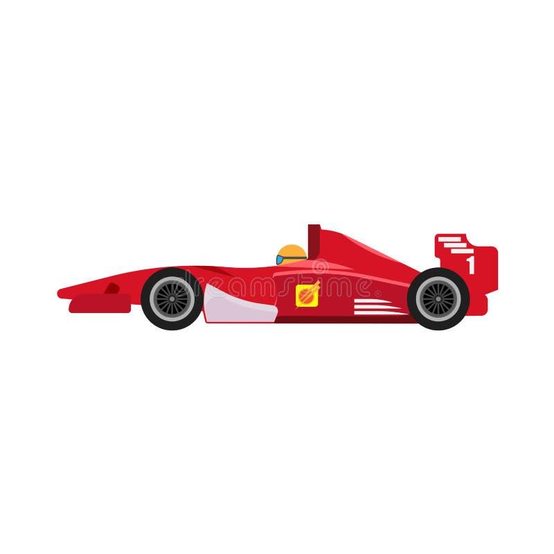 Icono rojo del vector de la vista lateral del coche de competición de la fórmula 1 Impulsi?n extrema del veh?culo f1 del motorspo stock de ilustración
