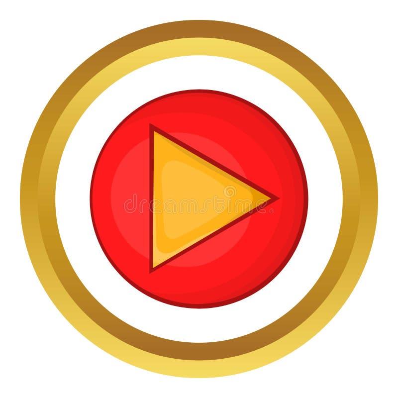 Icono rojo del vector del botón de reproducción stock de ilustración