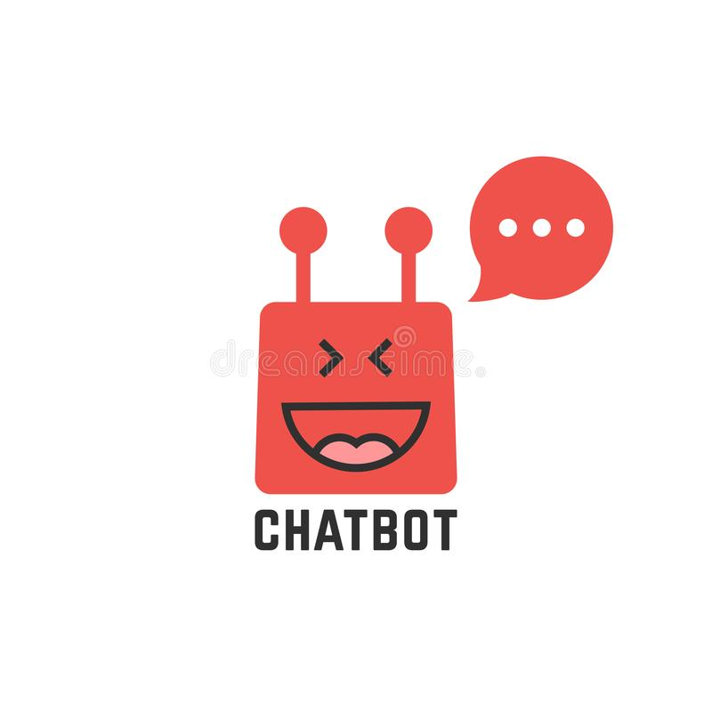 Icono rojo divertido del chatbot libre illustration