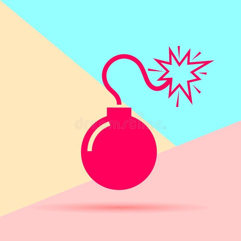 icono rojo mínimo moderno plano de la bomba con la sombra en fondo coloreado en colores pastel del azul y del rosa stock de ilustración