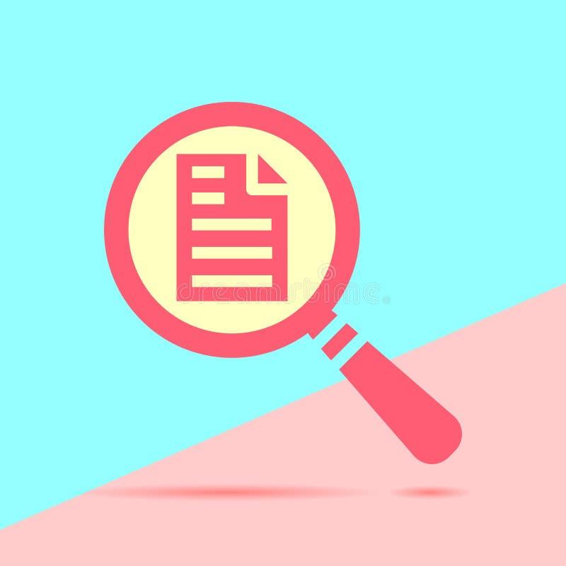 icono rojo moderno plano de la búsqueda de la lupa con la página con el sábalo stock de ilustración