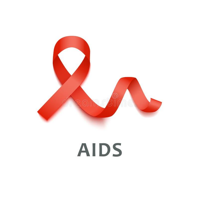 Icono rojo ondulado realista de la cinta de satén 3d del símbolo de las ayudas stock de ilustración
