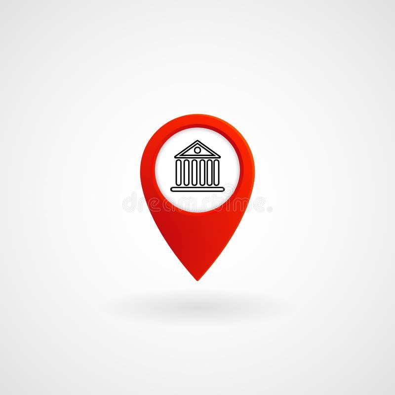 Icono rojo para el banco, vector de la ubicación ilustración del vector