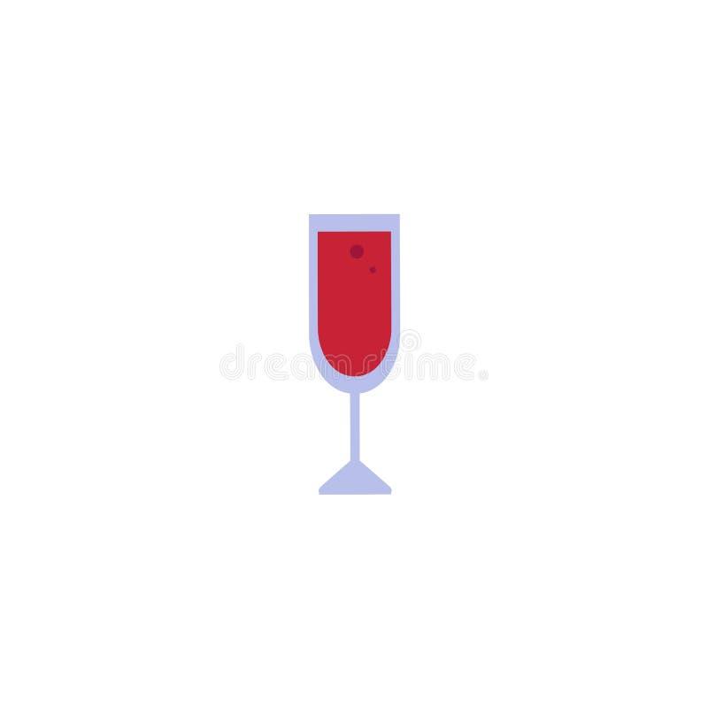 Icono rojo plano de la copa de vino del vector ilustración del vector