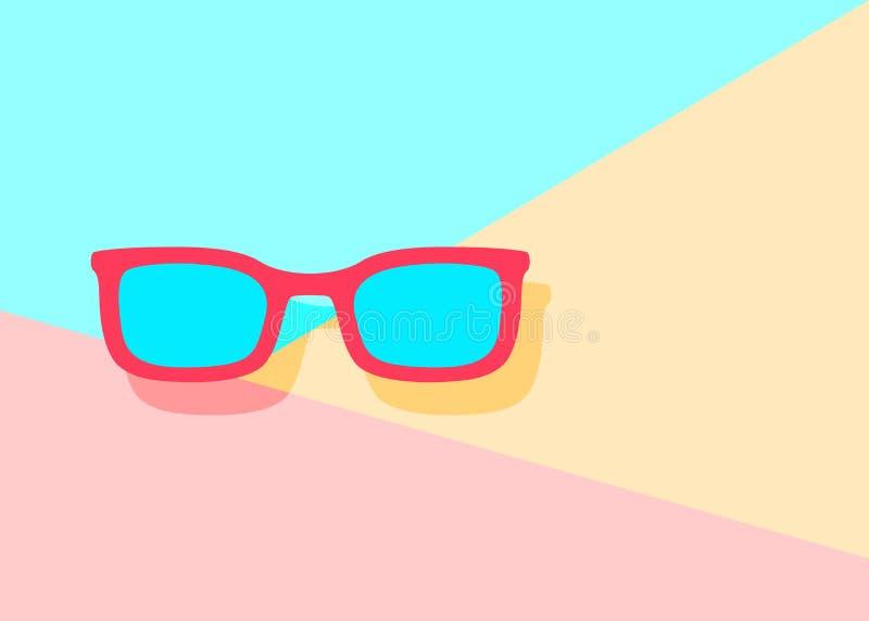 icono rojo plano moderno de los vidrios de sol con la sombra en vagos azules y rosados ilustración del vector