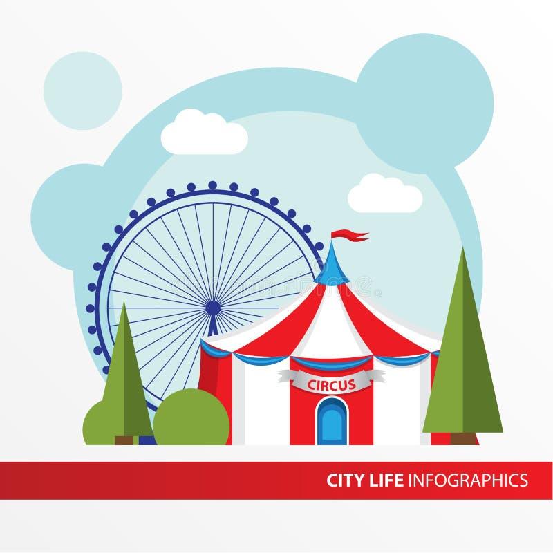 Icono rojo y blanco de la tienda de circo en el estilo plano Tiendas de circo del top grande Concepto para la ciudad infographic stock de ilustración