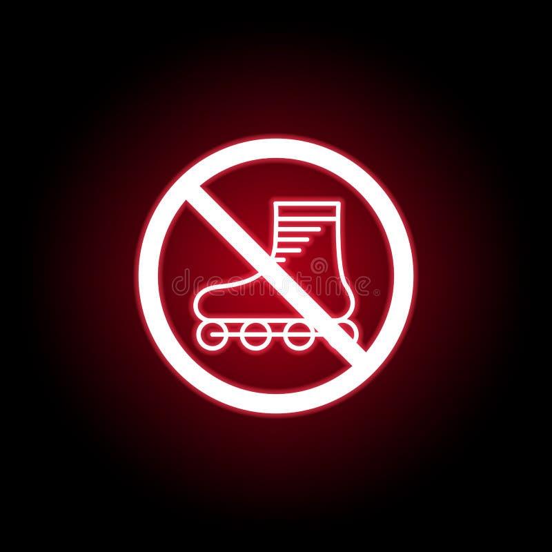 Icono rollerblading prohibido en estilo de neón rojo Puede ser utilizado para la web, logotipo, app m?vil, UI, UX stock de ilustración