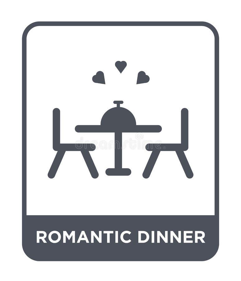 icono romántico de la cena en estilo de moda del diseño icono romántico de la cena aislado en el fondo blanco icono romántico del stock de ilustración