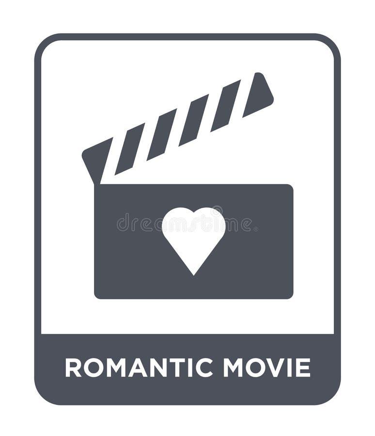 icono romántico de la película en estilo de moda del diseño icono romántico de la película aislado en el fondo blanco icono román libre illustration