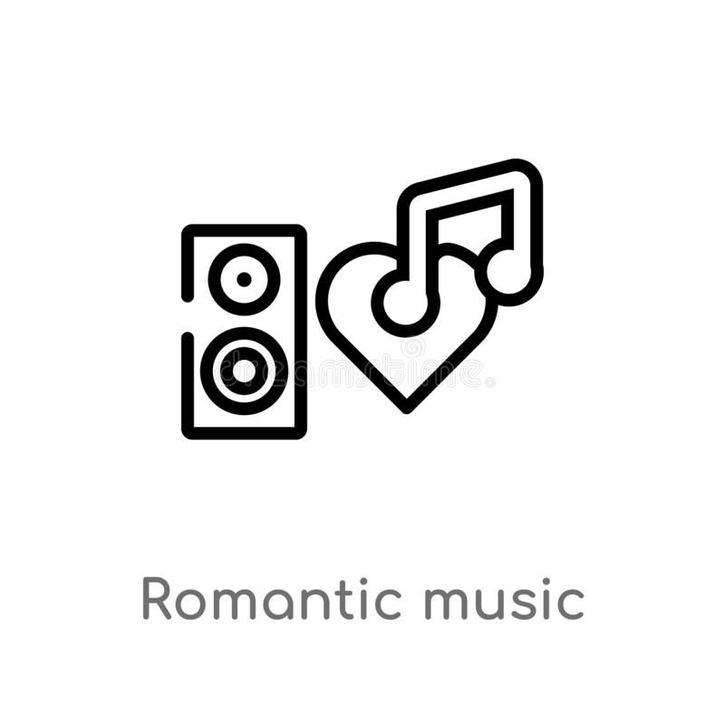 icono romántico del vector de la música del esquema línea simple negra aislada ejemplo del elemento del concepto de la discoteca  ilustración del vector