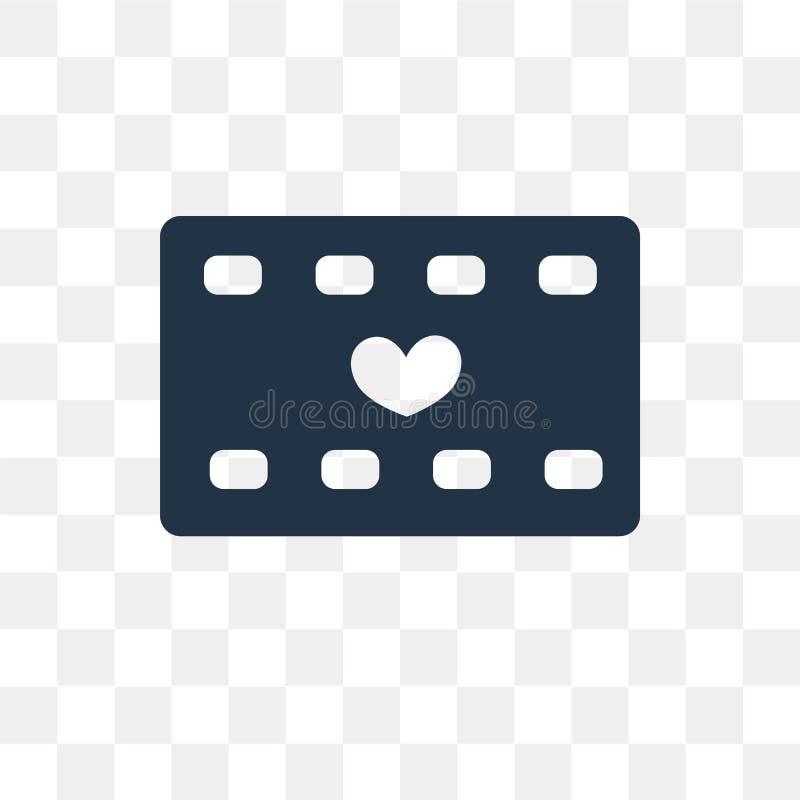 Icono romántico del vector de la película aislado en el fondo transparente, R libre illustration