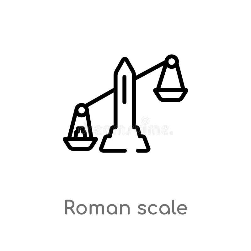 icono romano del vector de la escala del esquema l?nea simple negra aislada ejemplo del elemento del concepto de la medida Movimi stock de ilustración