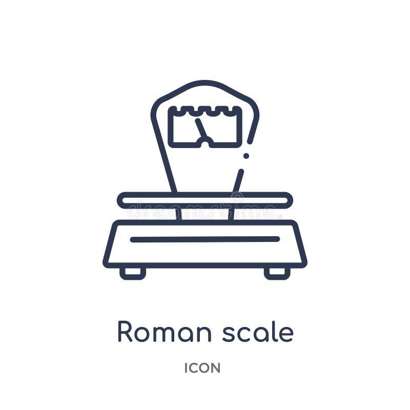 Icono romano linear de la escala de la colección del esquema de la medida Línea fina icono romano de la escala aislado en el fond libre illustration