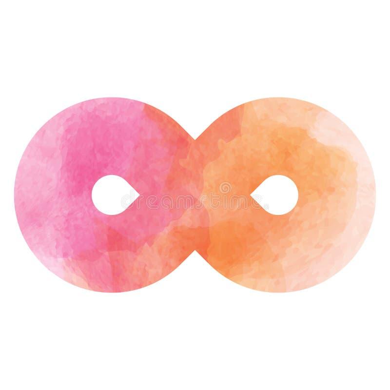 icono Rosado-anaranjado del símbolo del infinito Textura del vector de la acuarela libre illustration