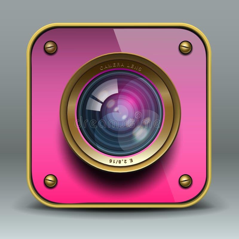 Icono rosado de la cámara de la foto stock de ilustración