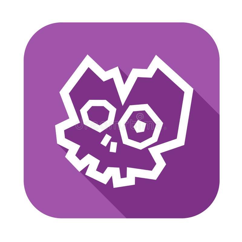 Icono roto polivinílico bajo del cráneo Silueta blanca en el fondo violeta ilustración del vector