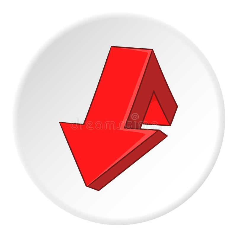 Icono roto rojo de la flecha, estilo de la historieta libre illustration