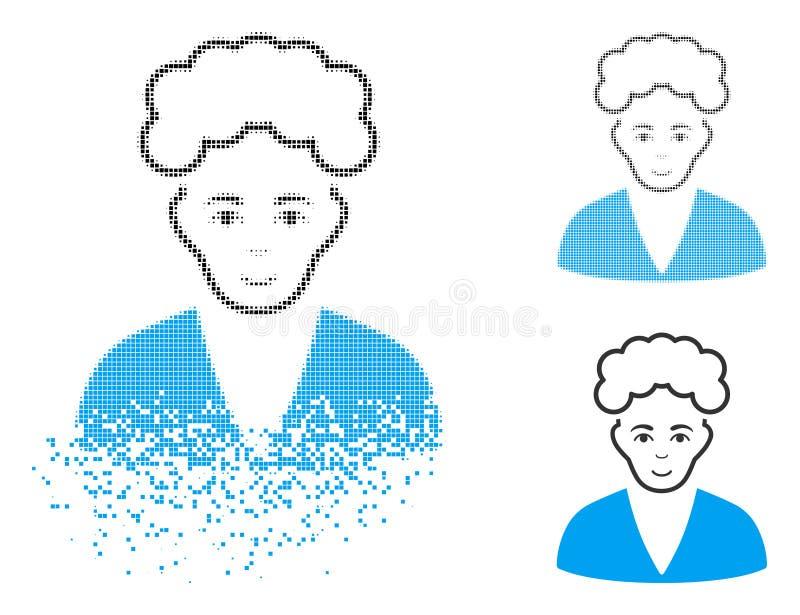 Icono rubio de semitono Destructed del muchacho de Pixelated con la cara libre illustration