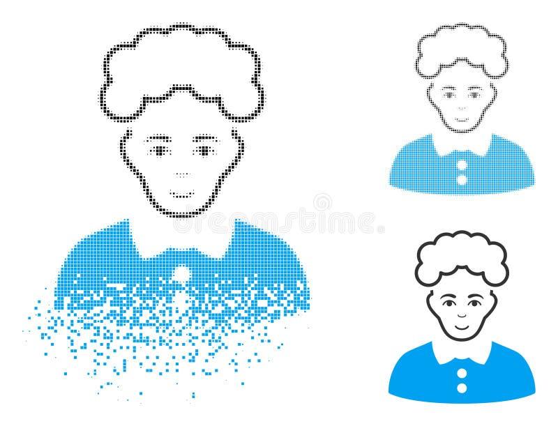 Icono rubio de semitono fracturado de la mujer del pixel con la cara stock de ilustración