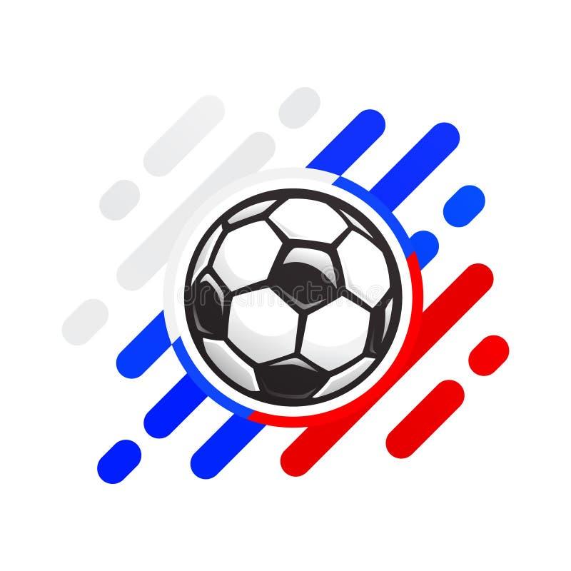 Icono ruso del vector de la bola del fútbol Balón de fútbol en un fondo abstracto del color de la bandera rusa stock de ilustración