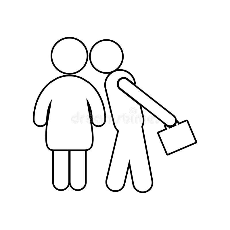 Icono rutinario diario feliz de la forma de vida ocupada del marido y de la esposa de la familia Elemento de la familia para el c ilustración del vector
