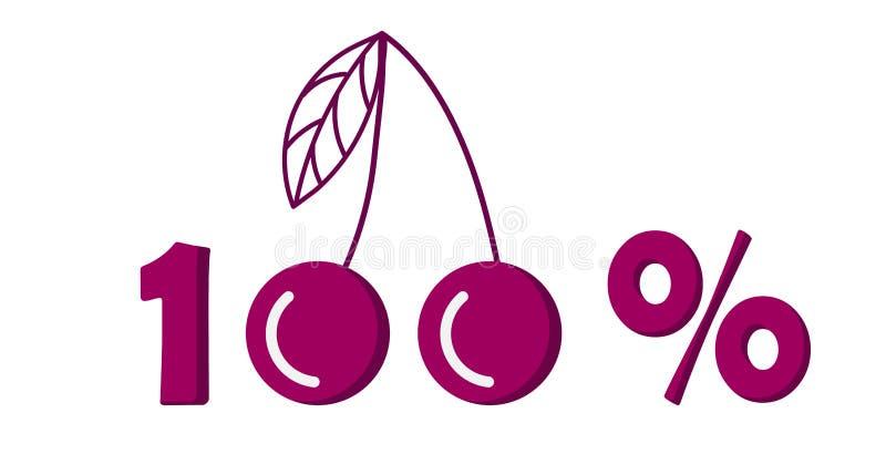 Icono, símbolo del márketing de la cereza del ciento por ciento Ilustraci?n del vector stock de ilustración