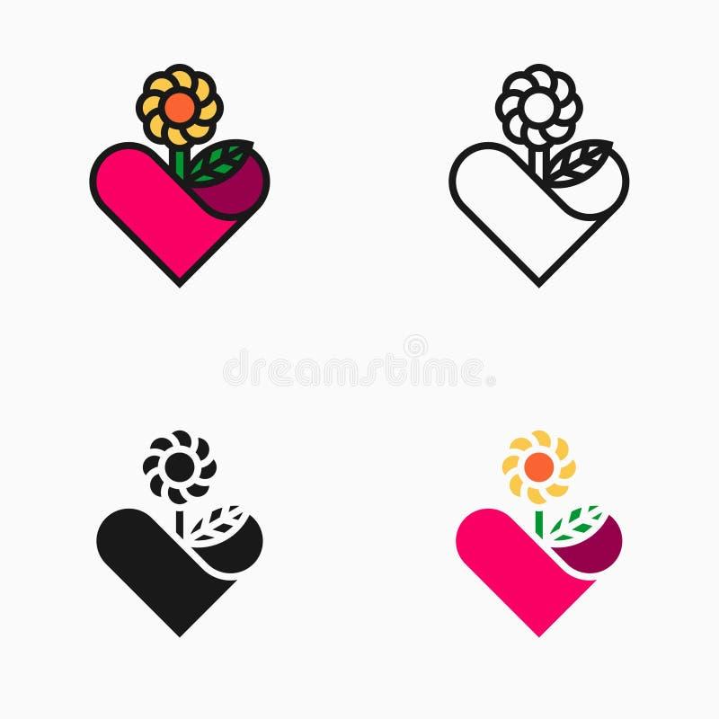 Icono, símbolo o logotipo del amante de la flor stock de ilustración