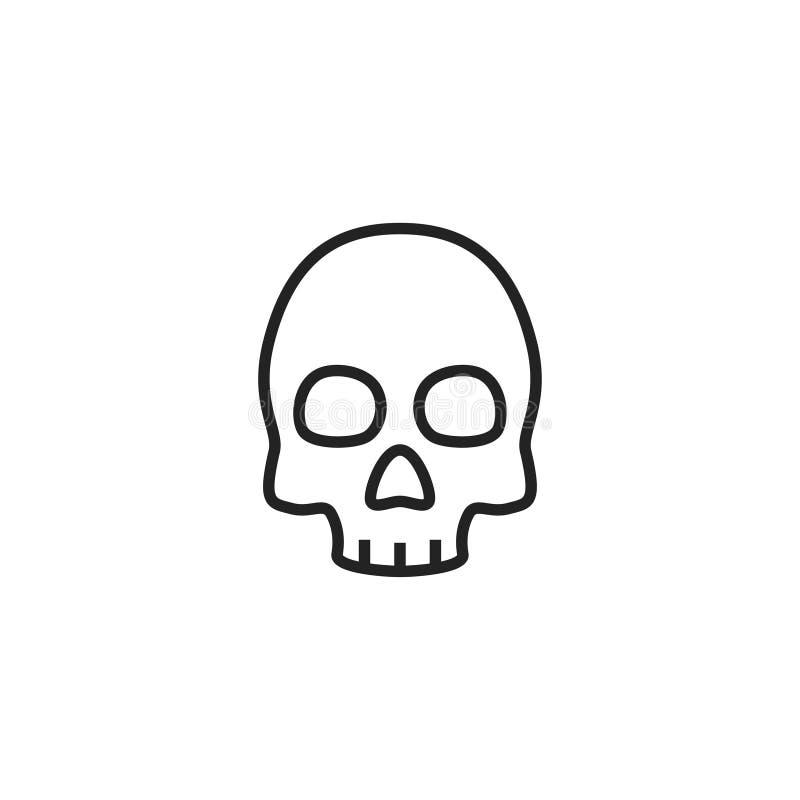 Icono, símbolo o logotipo del vector de Oultine del cráneo stock de ilustración