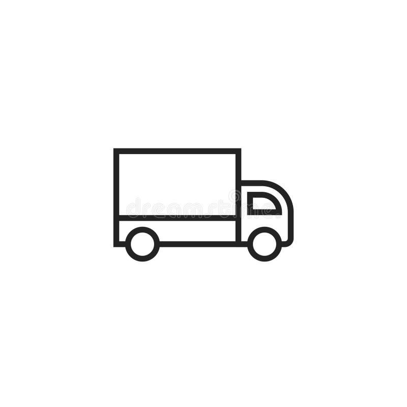 Icono, símbolo o logotipo del vector del esquema del camión de reparto libre illustration