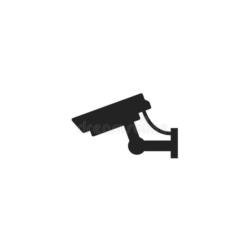 Icono, símbolo o logotipo del vector del Glyph de la cámara de seguridad stock de ilustración