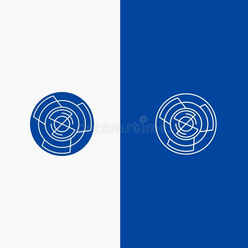 Icono sólido azul de la línea y del Glyph de bandera del icono sólido de la complejidad, del negocio, del desafío, del concepto,  stock de ilustración