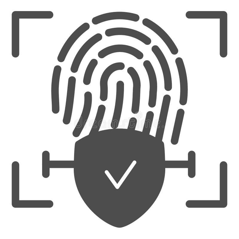 Icono sólido comprobado de la huella dactilar La identificación del finger aprobó el ejemplo del vector aislado en blanco Comprue ilustración del vector
